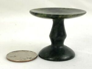 Small Antique Chinese Spinach Jade Pedestal Egg Stand Vessel Bowl
