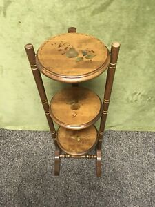 Rare Vintage Hitchcock Style Stenciled Wood Folding Table Pie Pastry Plant Stand