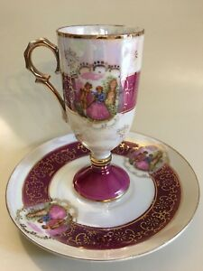 Royal Vienna Style Coffee Tea Cup And Saucer With Courting Couple