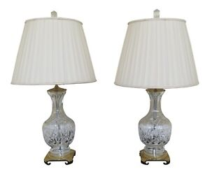 Lf47142ec Pair Waterford Crystal Brass Table Lamps W Shades