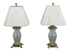 F47145ec Pair Waterford Crystal Brass Footed Table Lamps