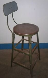 Vintage Retro Industrial Hallowell 200 Metal 28 Stool Chair