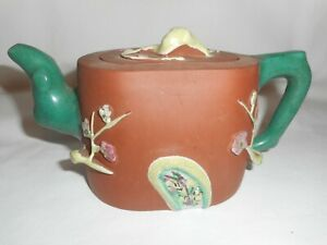 Yixing Zisha Clay Prunus Applied Enamel Teapot Signed Lid And Base
