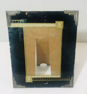 Vintage Art Deco Antique Reverse Painted Glass Picture Frame Easel Black Gold