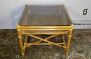 Mcguire End Table Leather Wrapped Rattan Glass Cane Woven Shelf X Frame Base