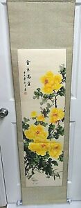 Vintage Japanese Asian Hand Painted Flowers Paper Wall Hanging Scroll 63 Inches