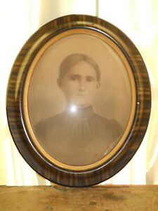 Vintage Wood Oval Convex Bubble Glass Picture Frame 25 X 21 Antique Original