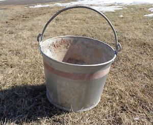 Galvanized Bucket Pail Metal Vintage Shabby Primitive Rusty Planter Pot Farm 10