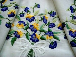 Vintage Hand Embroidered Floral Tablecloth Gorgeous Spring Violas