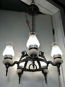 Antique 1930s Chandelier Arts Crafts Tudor Vtg Hammered Mission Light Fixture
