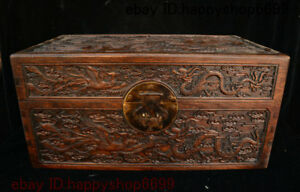 18 Chinese Huang Huali Wood Dragon Phoenix Storage Jewelry Chest Bin Box Statue