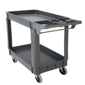 550 Lb Load Plastic Utility Service Cart 2 Shelves With 360 swiveling Wheels