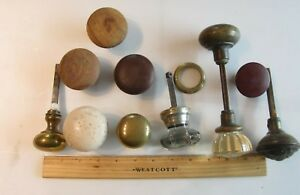 Antique Lot Glass Brass Door Knobs Vintage Porcelain Wood Architectural Hardware