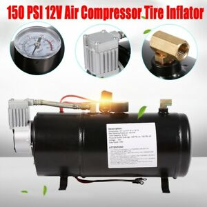 12v150psi Dc Truck Pickup On Board Air Compressor Air Horn With 3 Liter Tank Us