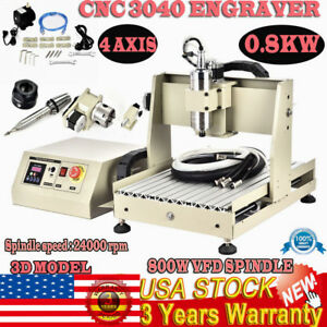 3040 4 Axis Usb 800watt Spindle Router Engraver Milling Drilling Cutting Machine