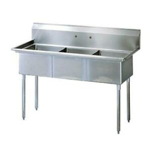 Turbo Air Tsa 3 n 59 3 4 In Three Compartment Prep Sink