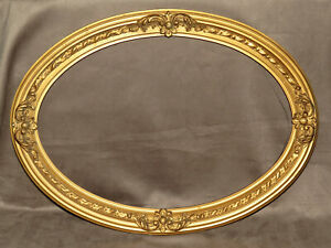 1880 S Antique Gold Painted Oval Frame Mirror Or Portrait Opening 17 By 23