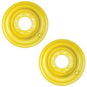 Set Of Two 2 Yellow 16 5x9 75x8 Wheel Rims For Skid Steer Loader 12 16 5 Tires
