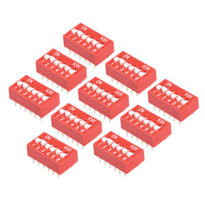 10 Pcs Red Dip Switch 1 2 3 4 5 6 Positions 2 54mm Pitch For Breadboards Pcb