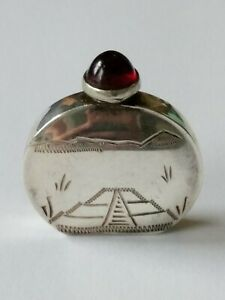 Vintage Mexico Sterling Red Stone Perfume Bottle