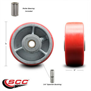 Scc 6 Red Poly On Cast Iron Wheel Only W roller Bearing 3 4 Bore 2000 Lb Cpty