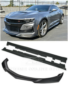 Zl1 Style Abs Plastic Front Lip Splitter Side Skirts For 19 Up Camaro Rs Ss