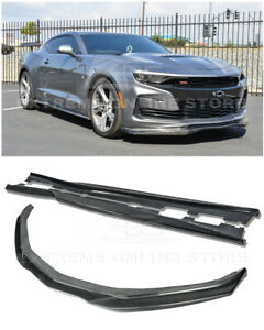 For 19 up Camaro Rs Ss T6 Style Carbon Fiber Front Lip Splitter Side Skirts
