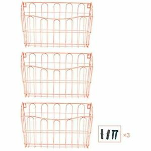 Hanging File Organizer 3 Pocket Wall Mount Document Letter Tray Rose Gold