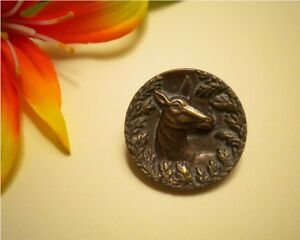 Antique Victorian Doe Looking Through Garland Wreath Metal Picture Button