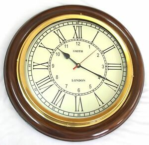 Antique Vintage Brass Wooden 12 Inch Wall Clock Smith London A Vintage Decor