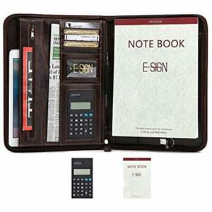 Pu Leather Briefcase Business Binder Padfolio Portfolio With Calculator And Pad