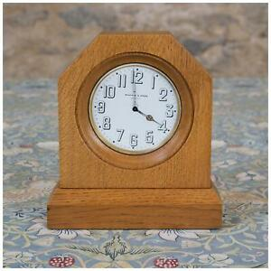 Arts Crafts Cotswold School Oak Mantel Clock With Mappin Webb 8 Day Movement