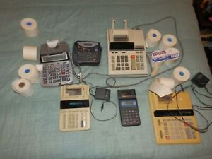 Lot Of 6 Various Printing Desktop Calculators Canon Sharp Casio Untested