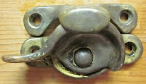 Antique Solid Cast Brass Window Sash Crescent Cam Lock W Keeper See Description