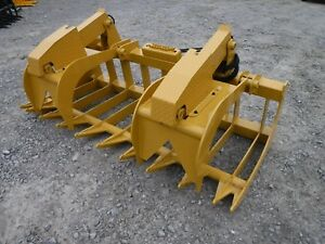 Cat Skid Steer Attachment 80 Heavy Duty Root Grapple Bucket Ship 199