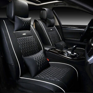 Us 5 Seat Car Leather Seat Covers Cushion For Vw Golf Jetta Passat Black White