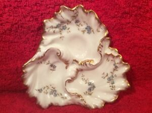 Rare Oyster Plate Antique Victorian Limoges 3 Well Lady S Oyster Plate Op306