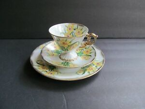 Vintage Bone China Ceramic Tea Cup Saucer Plate 3 Pc Set March Daffodil Flower