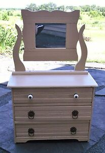Vintage Mini Painted Wooden Tabletop Apothecary Cabinet Salesman Sample Dresser