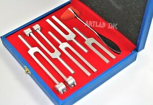 6 Aluminum Tuning Fork Set In Wooden Case Diagnostic Instruments