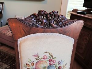 Antique Griffin Carved Walnut Chair W Needlepoint Cover