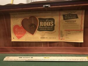 1940 S Roos Sweetheart Waterfall Cedar Chest Original Interior Tag Display Art