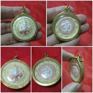 Brass Coin Ganesh Hindu Thai Amulet Multi Color In Gold Locket Pendant G26 1