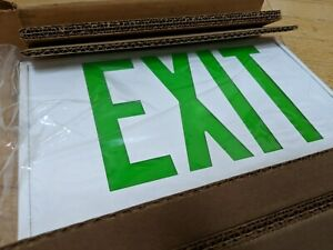 Hubbell Dual lite Emergency Lighting Aluminum Metal Exit Sign Green Ledsuacgww