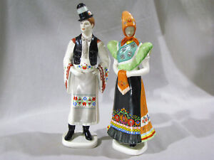 Pair Large Vintage Hollohaza Figures Traditional Dress 12 Man