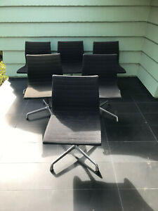 Herman Miller Eames Aluminum Swivel Chair Rare Set Of Six