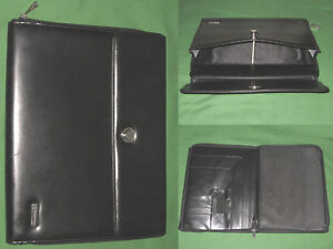 Monarch Note Pad Black Faux Leather Franklin Covey Planner 8 5x11 Binder 066