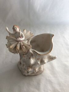 Vintage Porcelain Ballerina With Lace And Planter