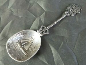 Unusual Heavy Antique European 800 Silver Spoon With Sail Boat Theme