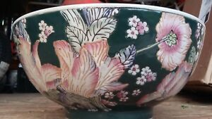 Antique Chinese Famille Porcelain 10 Textured Punch Bowl Cachepot Planter